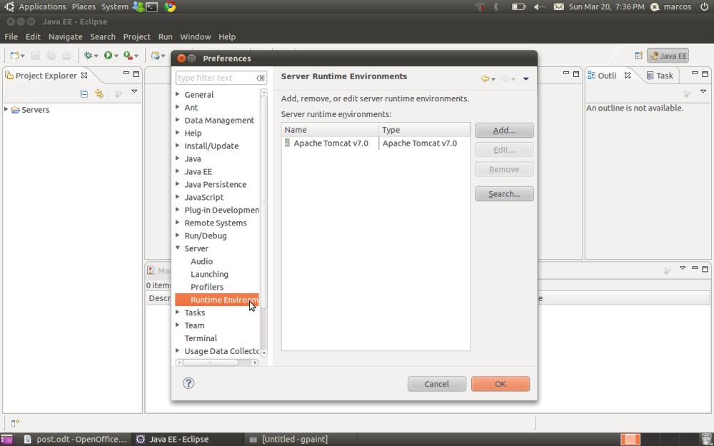 Ambiente Java EE no Ubuntu (Tomcat + Eclipse) (3/6)